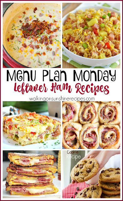 What to do with the leftover ham from Easter Sunday?  This week's Menu Plan Monday from Walking on Sunshine Recipes has a few suggestions for you!