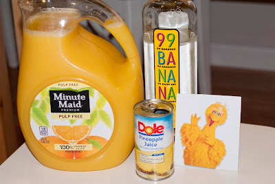 big bird cocktail, banana schnapps, pineapple juice, orange juice