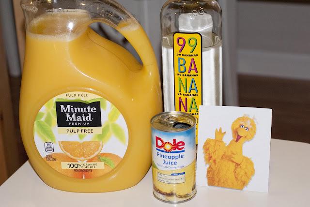 big bird cocktail, banana schnapps, pineapple juice, orange juice
