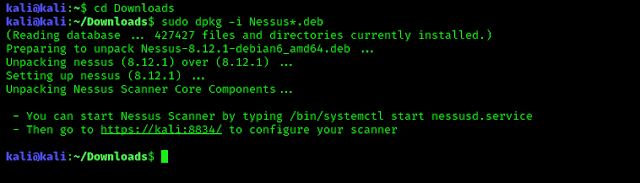 Installing Nessus deb file in Kali Linux