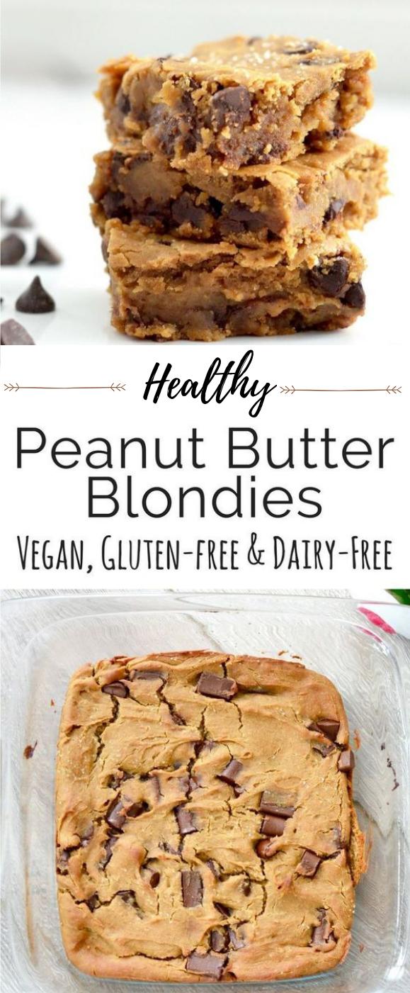 HEALTHY PEANUT BUTTER BLONDIES #dessert #peanut #butter