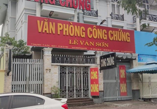 Địa chỉ Văn phòng công chứng Lê Văn Sơn: 77 Song Hành - An Phú - Quận 2