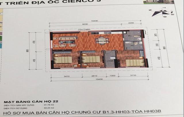 Sơ đồ thiết kế căn hộ 22 chung cư B1.3 HH03B Thanh Hà Cienco 5