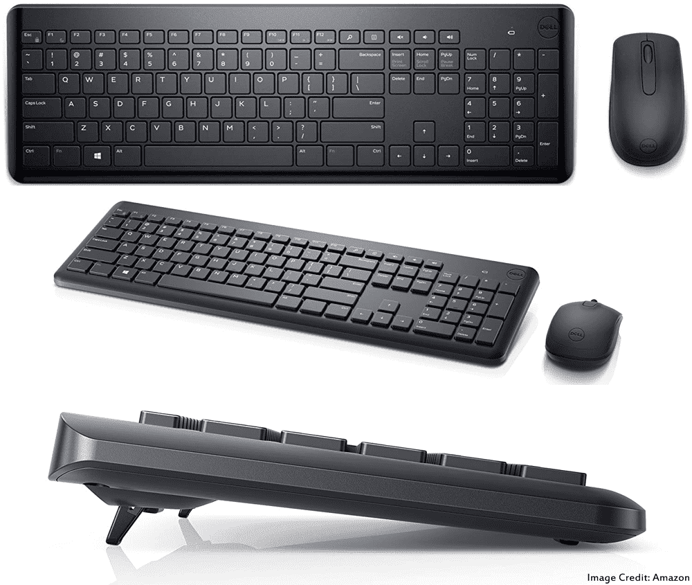 The image of Dell KM117 wireless keyboard and mouse combo. Its color is black. Moreover, It has a warranty of 1 year. Furthermore, The keyboard has total 101 keys and the mouse has total of 3 buttons.