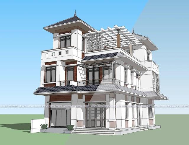FIle 3d sketch up biệt thự mái ngói cực đẹp