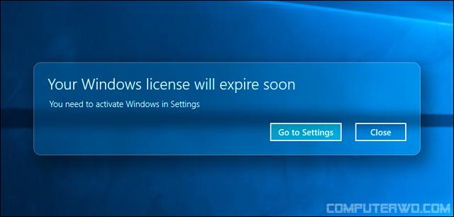 حل مشكلة Windows License Will Expire Soon فى ويندوز 10