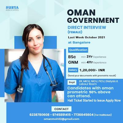 OMAN GOVERNMENT STAFF NURSE VACANCY 2021 - DIRECT INTERVIEW