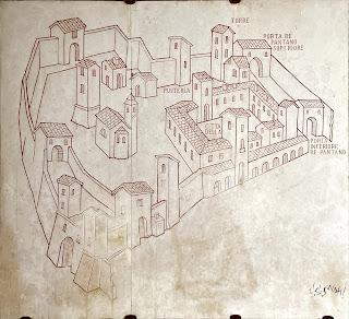 The medieval layout of Bergamo Città Alta with Porta del Pantano shown.