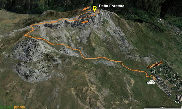 Mapa de la ruta a Peña Foratata desde Formigal