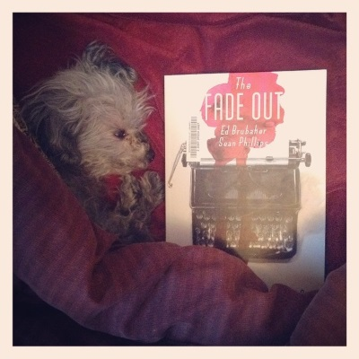 A fuzzy grey poodle, Murchie, sprawls partly beneath a red comforter. Beside him is a trade paperback copy of The Fade Out. Its cover features a typewriter splashed with pink ink against a white background.