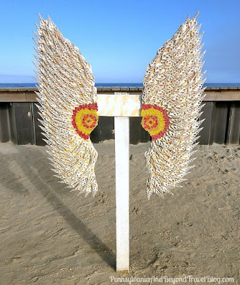 Angel Wings Made with Seashells on North Wildwood Beach, New Jersey