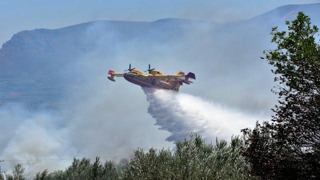 Πυρκαγιά στο Χιλιομόδι Κορινθίας - Ρίψεις νερού από αεροσκάφη