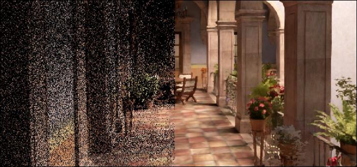 تم تنعيم الصورة المشوشة باستخدام جهاز NVIDIA denoiser