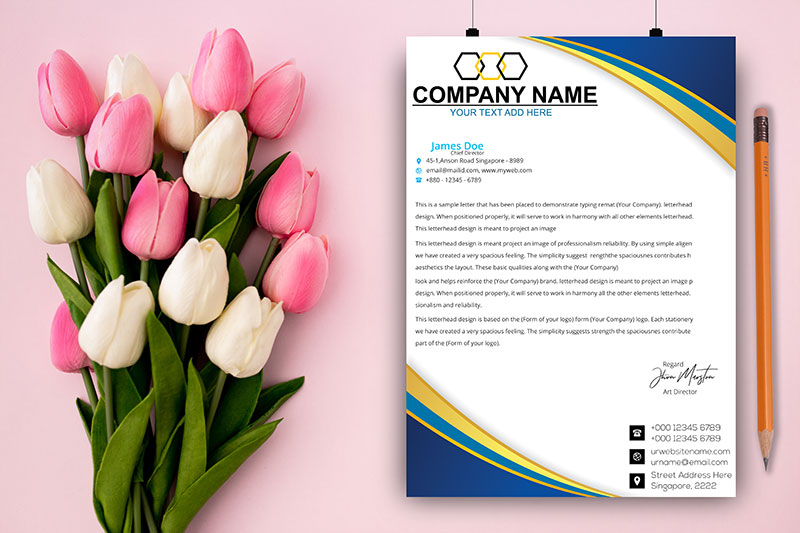 A4 Letterhead Paper PSD Mockup File For Photoshop Free Download