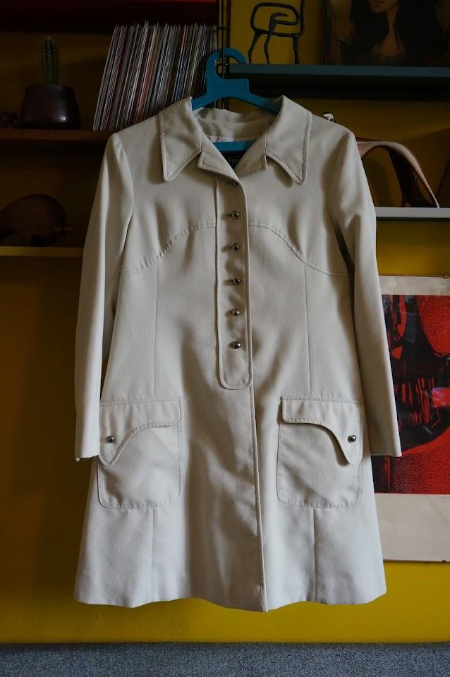 70s 1970 spring canvas coat mod beige manteau années 70 vintage