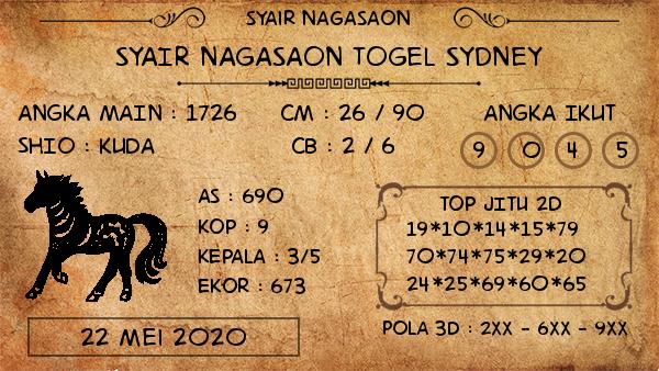 Prediksi Togel Sydney Jumat 22 Mei 2020 - Syair Nagasaon