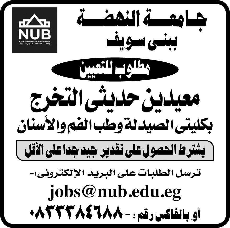 """جامعة النهضة تعلن عن وظائف للمؤهلات العليا """" للذكور والاناث """" والتقديم على الانترنت"""