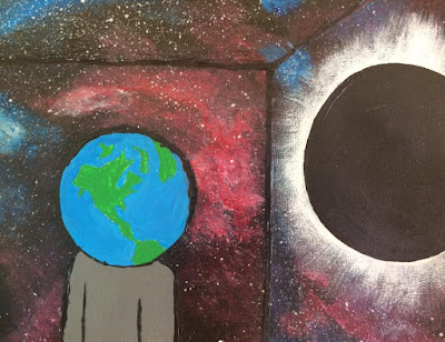 Cosmic Cartoon Artwork of Earth and Eclipse in the Universe - Buy Cosmic Artwork