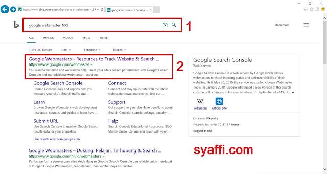 Cara Menggunakan Google Webmaster Tool agar Postingan Blog Kita di Index oleh Google Search Engine Searching Google Webmaster Tool syaffi com