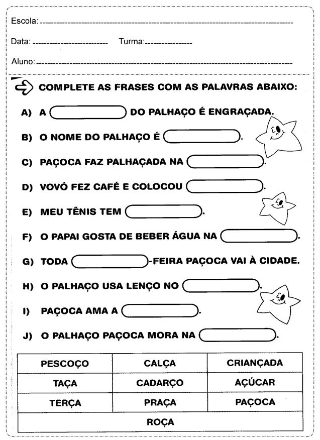 Educar X Atividades De Português 1 Ano Fundamental