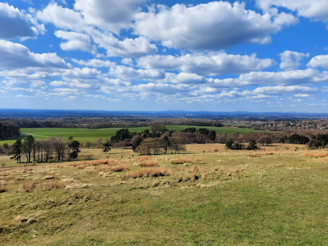 A view across rolling green fields to Manchester