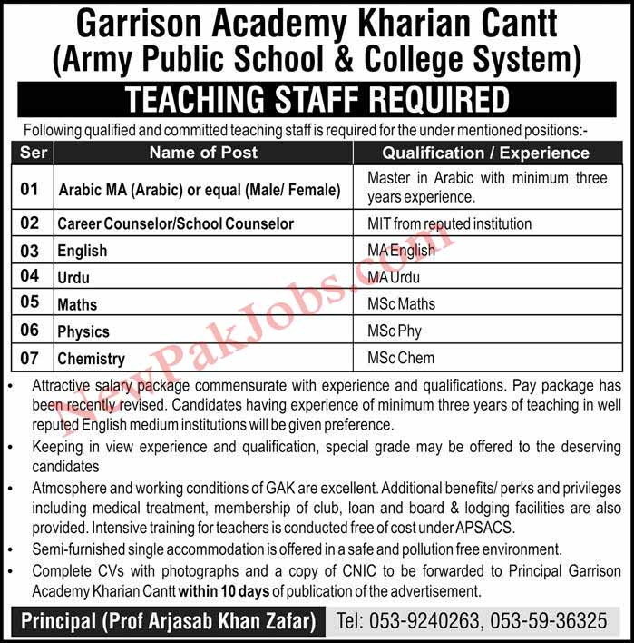 Teaching Jobs in Garrison Academy Kharian Cantt 10 Feb 2019