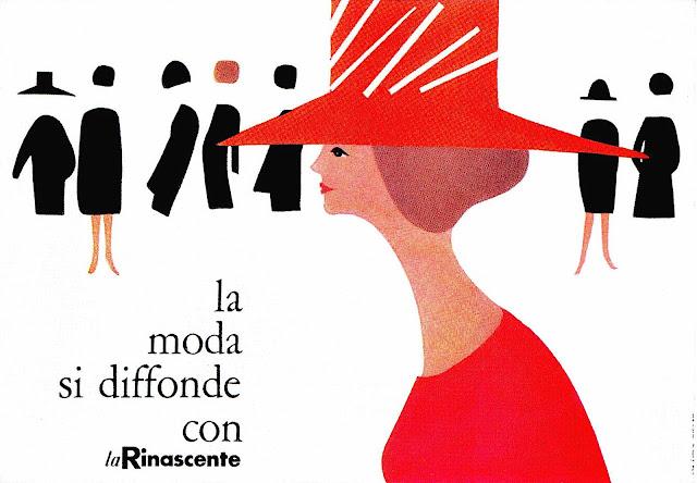 a Lora Lamm 1960 fashion illustration of a woman in red for la Rinascente