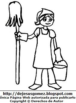 Dibujo de mujer con trabajo de limpieza para colorear, pintar e imprimir. Dibujo de mujer hecho por Jesus Gómez