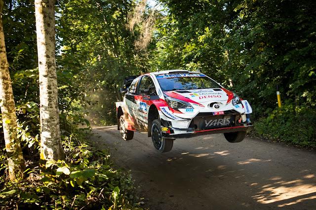 Toyota Yaris Rally car flying in Estonia
