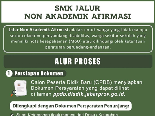 Prosedur dan Jadwal PPDB Jawa Barat 2017 Jenjang SMK Jalur Non Akademik Afirmasi