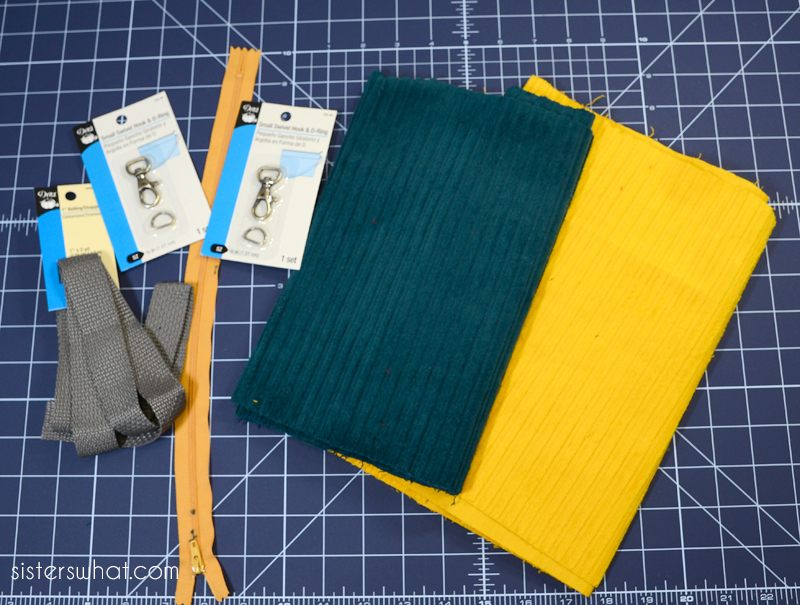 diy corduroy bag supplies