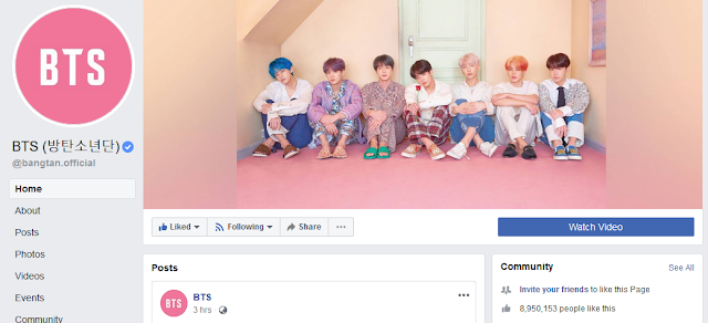 Facebook BTS Bangtan Sonyeondan