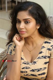 Telugu Actress Karunya Chowdary Stills in Short Dress at ATM Not Working Press Meet  0266.jpg