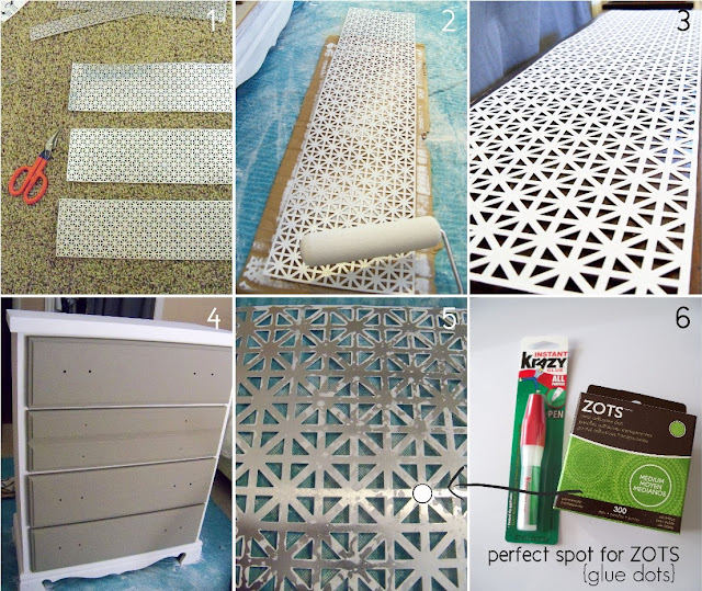 New Twist on an Old Dresser {with sheet metal} - My Sister's Suitcase - Packed with Creativity
