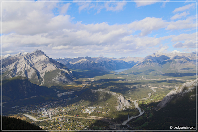 View of Surrounding Mountains from the top of Sulphur Mountain, Canadian Rockies, Banff, Alberta, Canada. > See more on Badgertails.com <