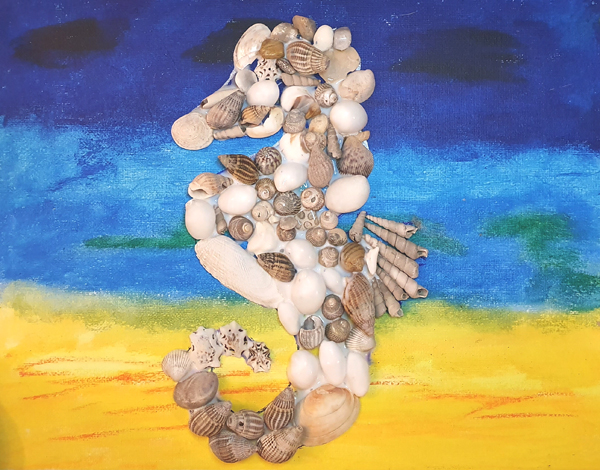 Creating a seashell seahorse from our beach combing finds
