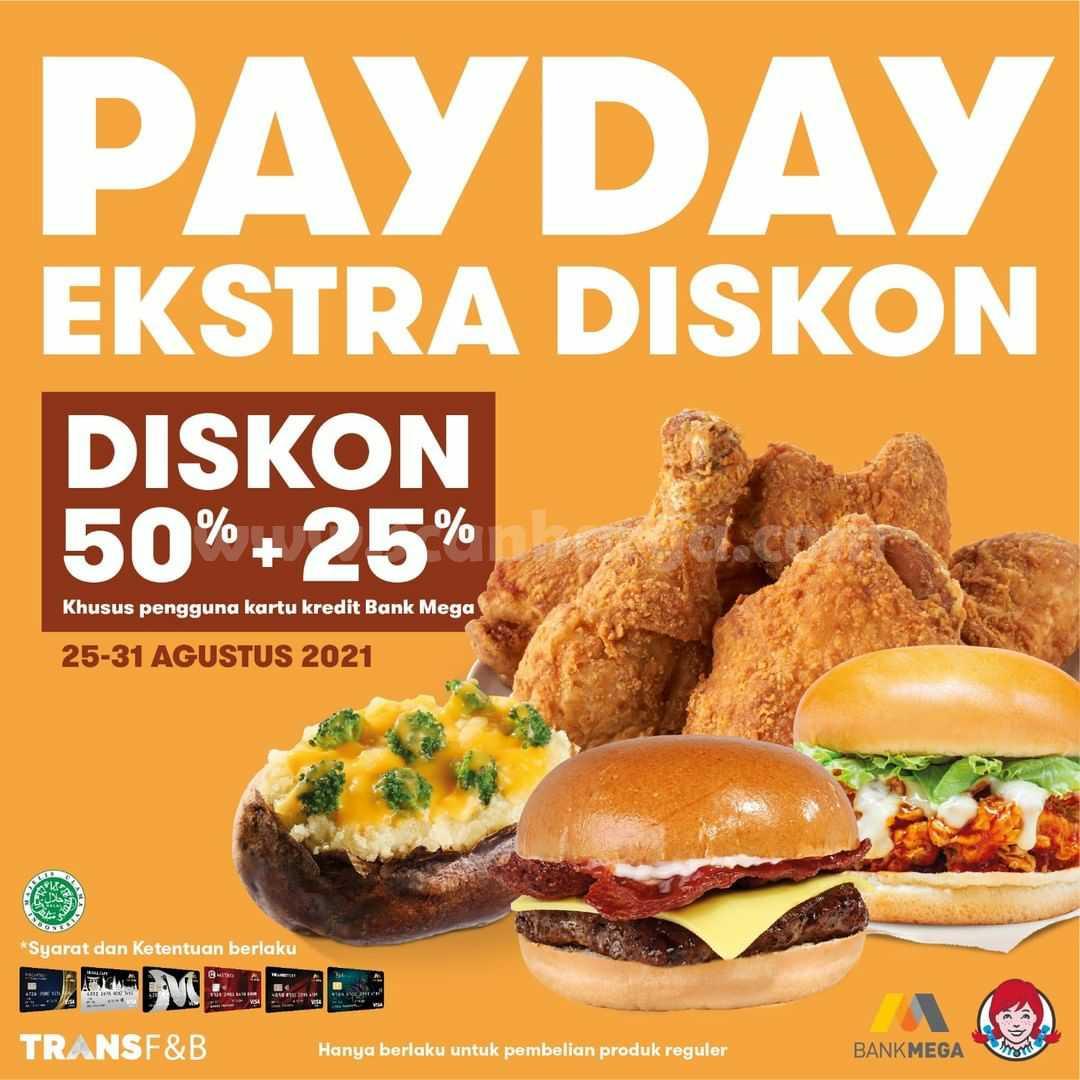 WENDYS PAYDAY Ekstra Diskon 50% + 25% - Dengan Kartu Kredit Bank Mega
