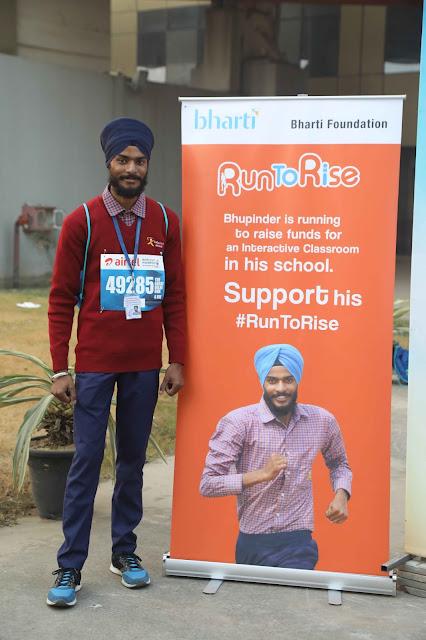 Bhupinder Singh, a student of Satya Bharti School from Fattubhila village, ran this year's Airtel Delhi Half Marathon to raise money for his school.