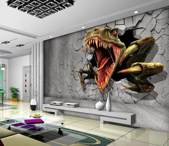 tranh tường 3d phòng khách khủng long