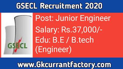 GSECL Junior Engineer Recruitment, GSECL Recruitment