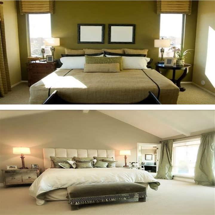غرفة نوم باللون الأخضر مع  أبيض
