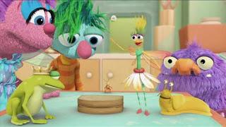 Abby's Flying Fairy School Pet Day, Abby Cadabby, Blögg, Gonnigan, Mrs. Sparklenose. Sesame Street Episode 4322 Rocco's Playdate season 43