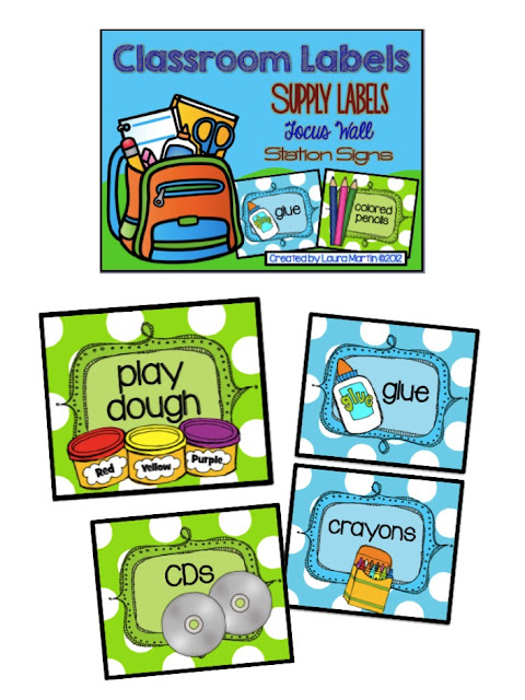 I organize my classroom with these fun Supply Labels.