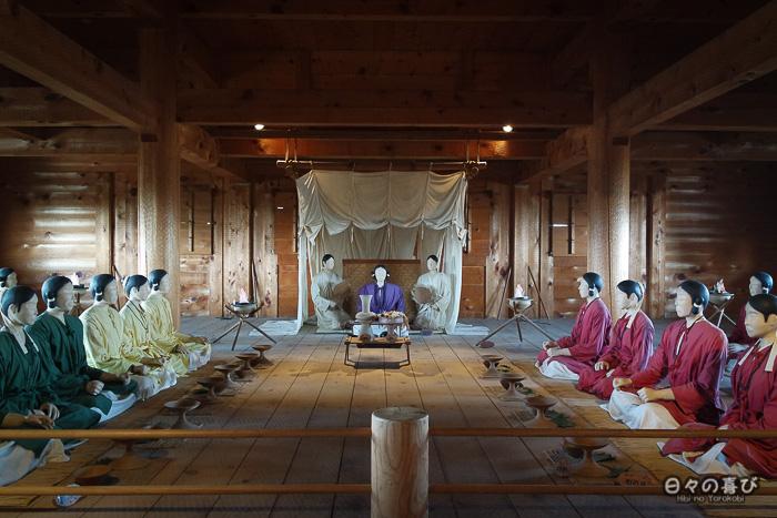 Kitanaikaku, reconstitution conseil avec mannequins, parc Yoshinogari, Saga