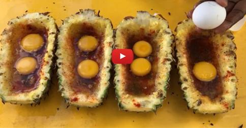 Full Boiled Eggs in Pineapple