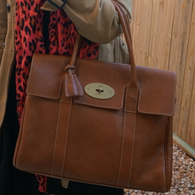 Mulberry heritage Bayswater in Oak NVT leather with leopard print scarf | awayfromtheblue