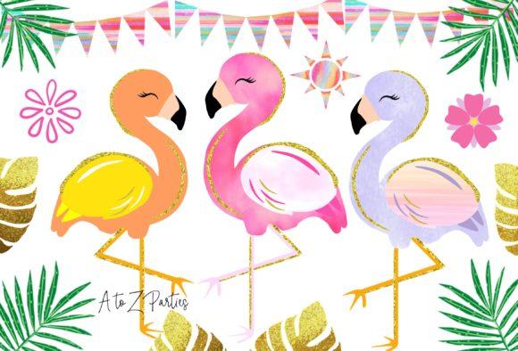 Flamingo Glitter Watercolor Tropical Graphics