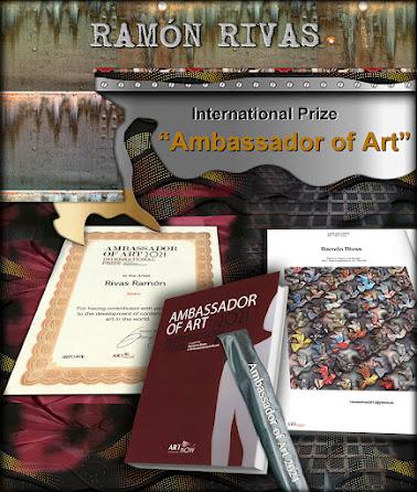 """Diploma y la obra de Ramón Rivas """"Flight for Peace and Equality"""" publicada  en el Catálogo y en la revista Art International Contemporar"""