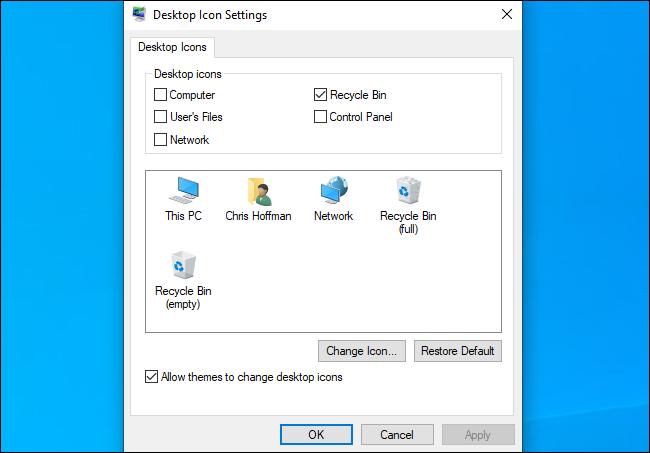 مربع الحوار إعدادات رمز سطح مكتب Windows