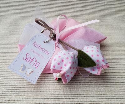 bomboniera portachiavi tulipani cotone pois